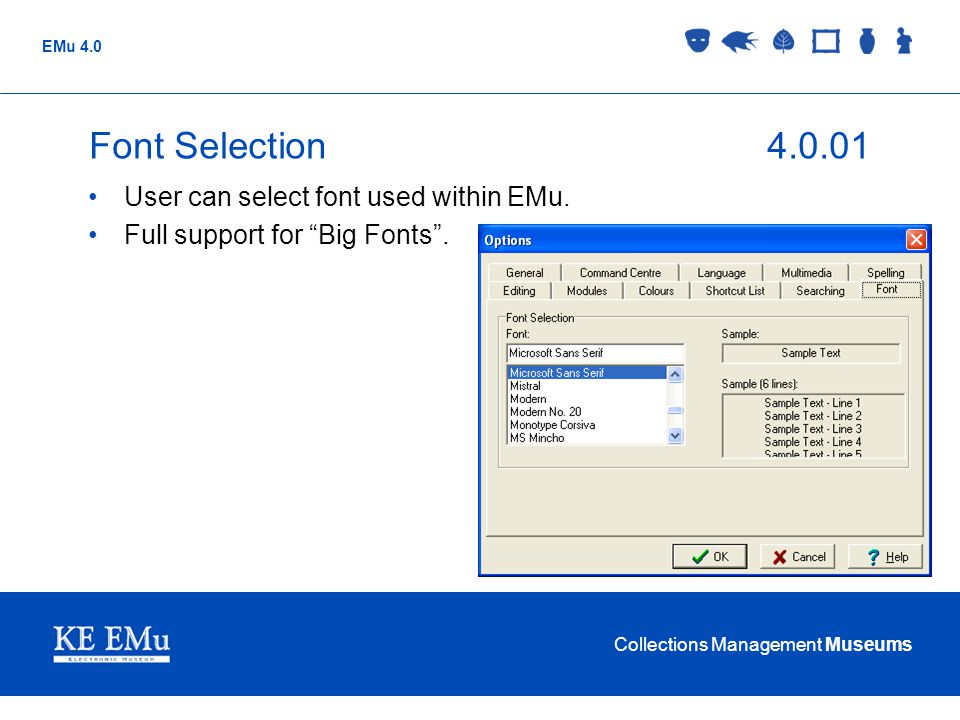Collections Management Museums EMu 4.0 Font Selection4.0.01 User can select font used within EMu.