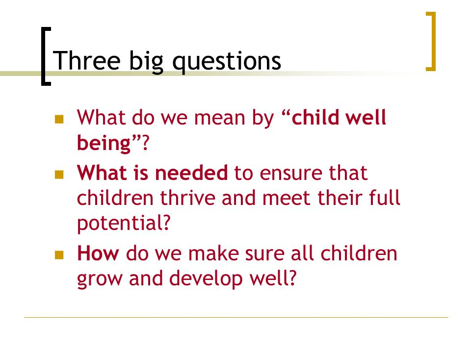 "Three big questions What do we mean by ""child well being""? What is needed to ensure that children thrive and meet their full potential? How do we make"