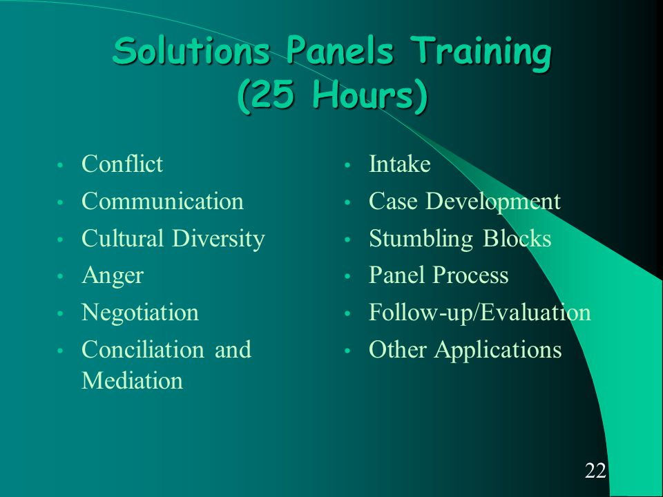 22 Solutions Panels Training (25 Hours) Conflict Communication Cultural Diversity Anger Negotiation Conciliation and Mediation Intake Case Development