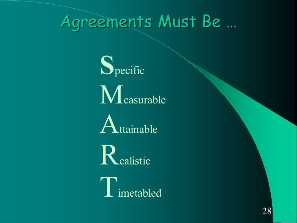 28 Agreements Must Be … S pecific M easurable A ttainable R ealistic T imetabled
