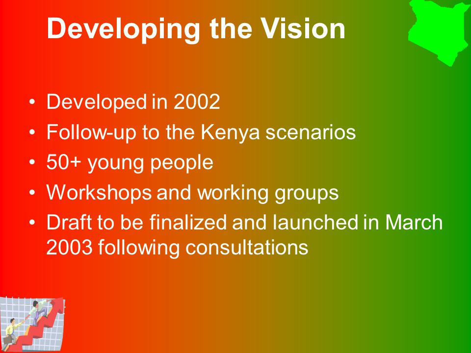 Developed in 2002 Follow-up to the Kenya scenarios 50+ young people Workshops and working groups Draft to be finalized and launched in March 2003 following consultations Developing the Vision