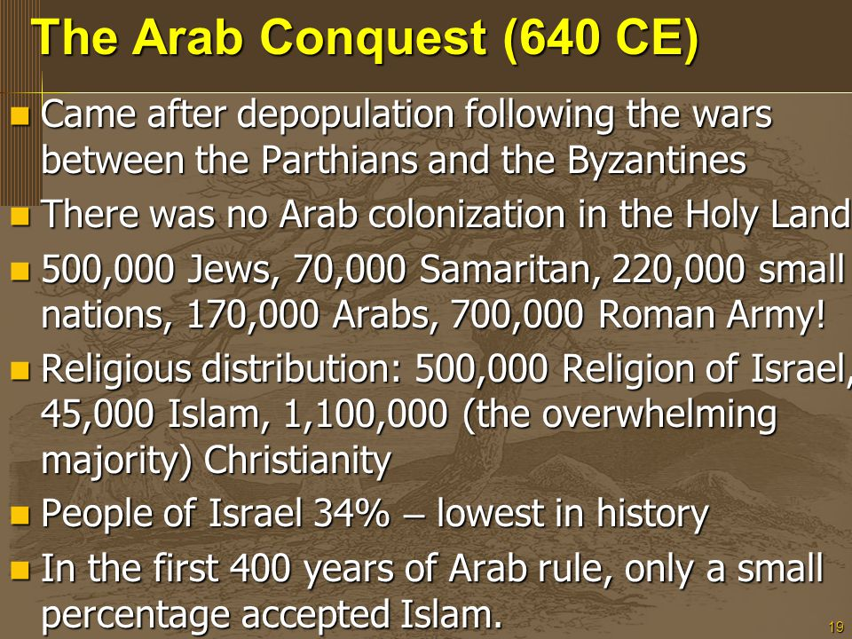 19 The Arab Conquest (640 CE) Came after depopulation following the wars between the Parthians and the Byzantines Came after depopulation following the wars between the Parthians and the Byzantines There was no Arab colonization in the Holy Land There was no Arab colonization in the Holy Land 500,000 Jews, 70,000 Samaritan, 220,000 small nations, 170,000 Arabs, 700,000 Roman Army.