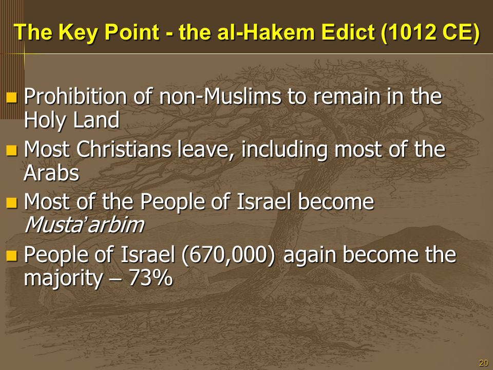 20 The Key Point - the al-Hakem Edict (1012 CE) Prohibition of non-Muslims to remain in the Holy Land Prohibition of non-Muslims to remain in the Holy Land Most Christians leave, including most of the Arabs Most Christians leave, including most of the Arabs Most of the People of Israel become Musta ' arbim Most of the People of Israel become Musta ' arbim People of Israel (670,000) again become the majority – 73% People of Israel (670,000) again become the majority – 73%