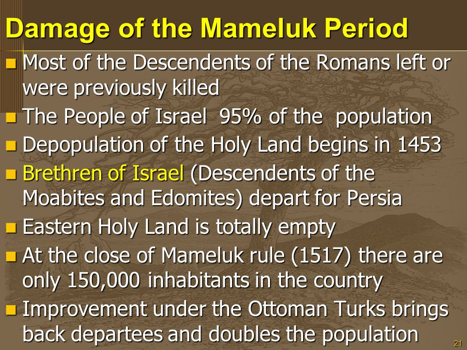 21 Damage of the Mameluk Period Most of the Descendents of the Romans left or were previously killed Most of the Descendents of the Romans left or wer