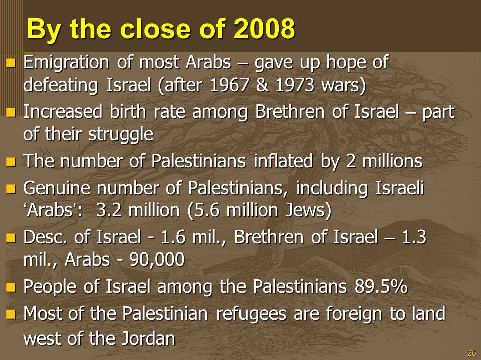 26 By the close of 2008 Emigration of most Arabs – gave up hope of defeating Israel (after 1967 & 1973 wars) Emigration of most Arabs – gave up hope o