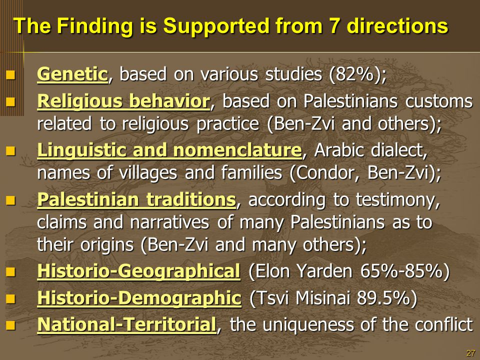 27 The Finding is Supported from 7 directions Genetic, based on various studies (82%); Genetic, based on various studies (82%); Religious behavior, ba