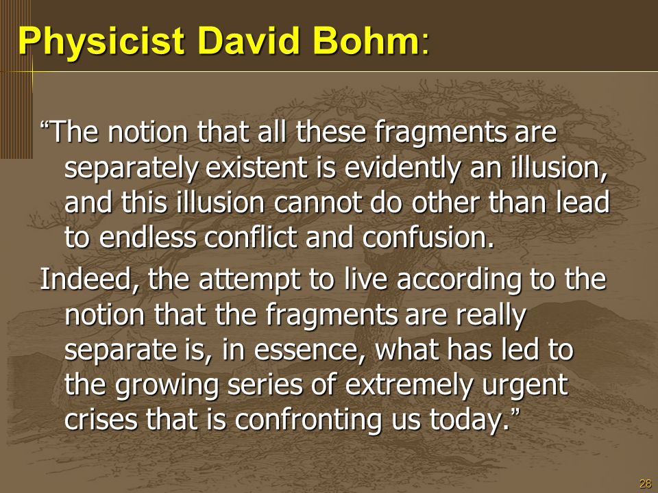"""28 Physicist David Bohm: Physicist David Bohm: """" The notion that all these fragments are separately existent is evidently an illusion, and this illusi"""