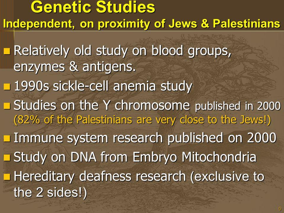 9 Genetic Studies Independent, on proximity of Jews & Palestinians Genetic Studies Independent, on proximity of Jews & Palestinians Relatively old stu