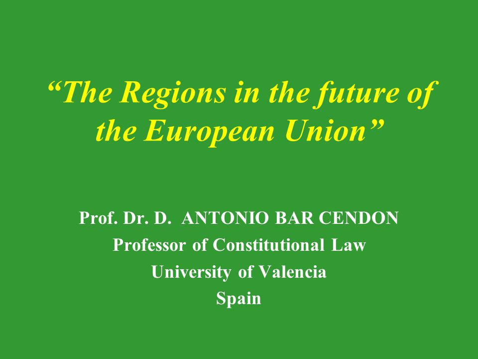 Contents: The framework of the regional question in the EU The expansion of regionalism in Europe The Regions and the EU at present The Regions in the debate on the future of Europe: Different approaches Conclusion: The role of Regions in the future of Europe