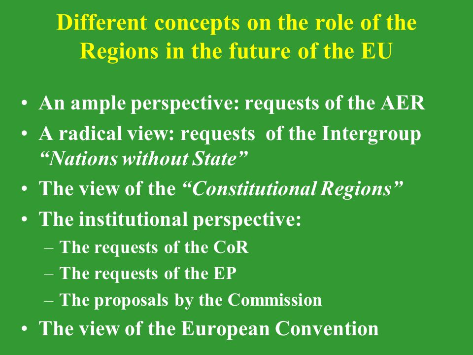 Different concepts on the role of the Regions in the future of the EU An ample perspective: requests of the AER A radical view: requests of the Intergroup Nations without State The view of the Constitutional Regions The institutional perspective: –The requests of the CoR –The requests of the EP –The proposals by the Commission The view of the European Convention