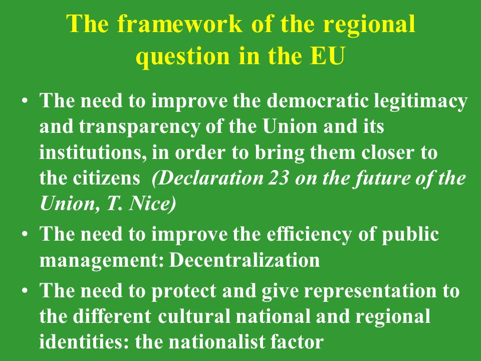 Draft EU Constitution ['Penélope'] by Prodi, Barnier and Vitorino (4.12.2002) It is not very different –to this respect– from the drafts produced so far by the European Convention Peculiarity: Assembly of the Regions : –consultative body (replacement for the CoR) –empowered to initiate proceedings before the CJ: for annulment for infringement of the principle of subsidiarity