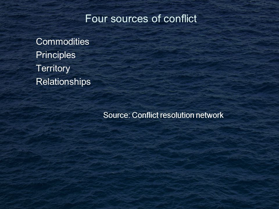 Four sources of conflict Commodities Principles Territory Relationships Source: Conflict resolution network