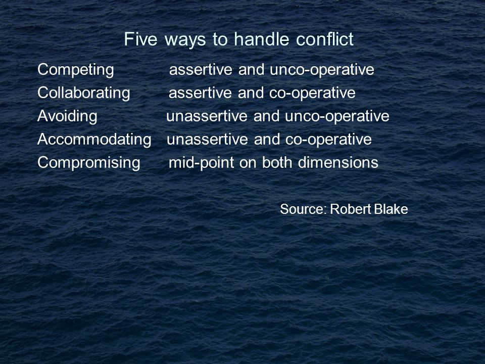 Five ways to handle conflict Competing assertive and unco-operative Collaborating assertive and co-operative Avoiding unassertive and unco-operative Accommodating unassertive and co-operative Compromising mid-point on both dimensions Source: Robert Blake