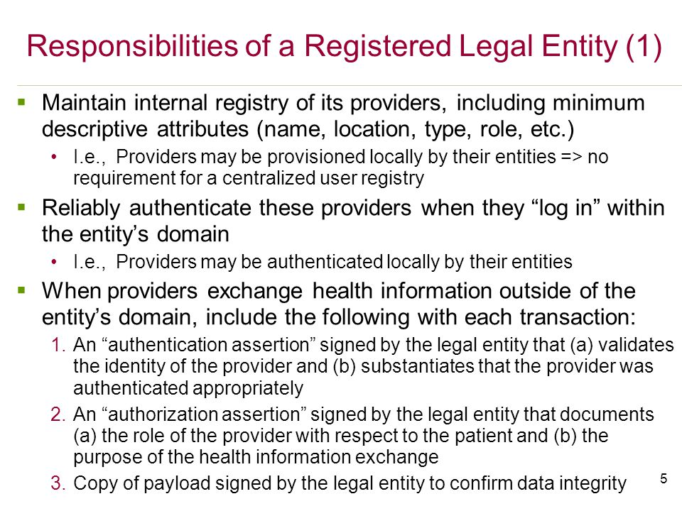 5 Responsibilities of a Registered Legal Entity (1)  Maintain internal registry of its providers, including minimum descriptive attributes (name, location, type, role, etc.) I.e., Providers may be provisioned locally by their entities => no requirement for a centralized user registry  Reliably authenticate these providers when they log in within the entity's domain I.e., Providers may be authenticated locally by their entities  When providers exchange health information outside of the entity's domain, include the following with each transaction: 1.An authentication assertion signed by the legal entity that (a) validates the identity of the provider and (b) substantiates that the provider was authenticated appropriately 2.An authorization assertion signed by the legal entity that documents (a) the role of the provider with respect to the patient and (b) the purpose of the health information exchange 3.Copy of payload signed by the legal entity to confirm data integrity