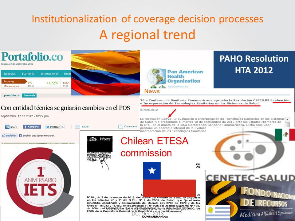 PAHO Resolution HTA 2012 Chilean ETESA commission Institutionalization of coverage decision processes A regional trend Giedion, U.