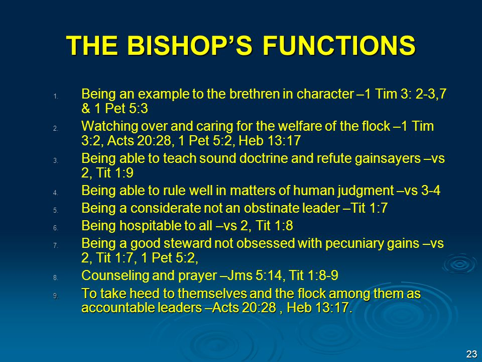 THE BISHOP'S FUNCTIONS 1.1.