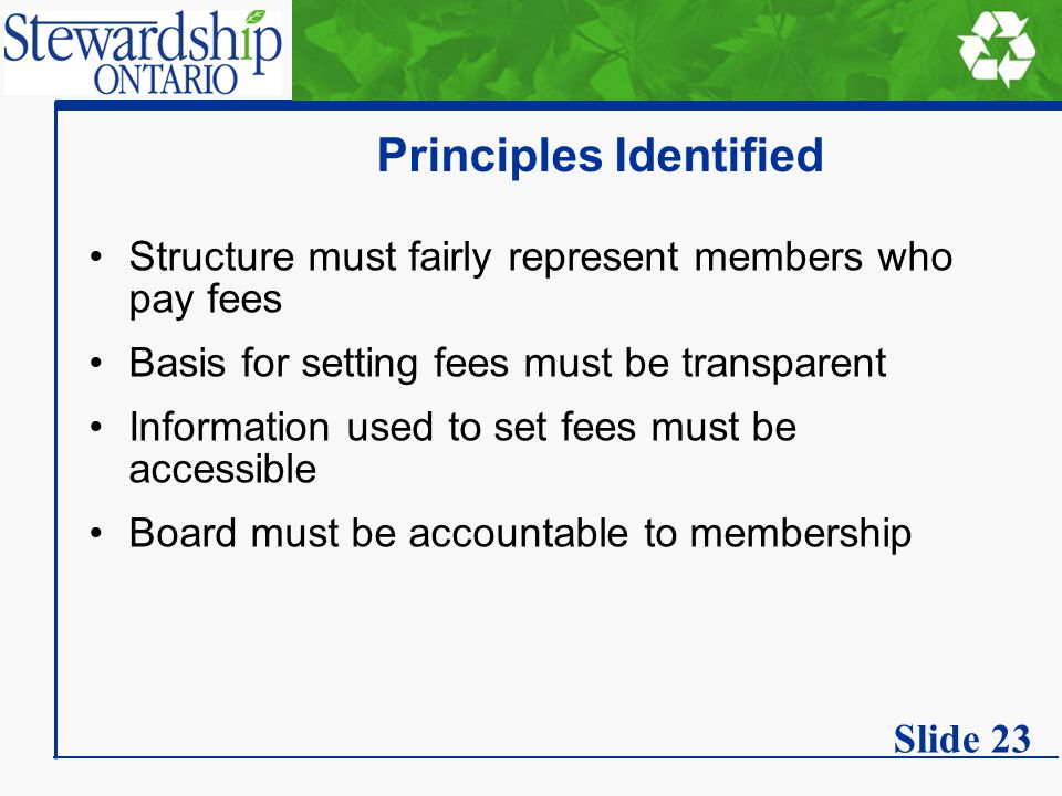 Principles Identified Structure must fairly represent members who pay fees Basis for setting fees must be transparent Information used to set fees must be accessible Board must be accountable to membership Slide 23