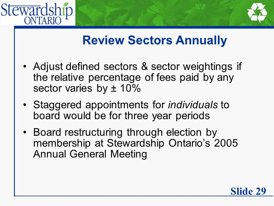 Review Sectors Annually Adjust defined sectors & sector weightings if the relative percentage of fees paid by any sector varies by ± 10% Staggered appointments for individuals to board would be for three year periods Board restructuring through election by membership at Stewardship Ontario's 2005 Annual General Meeting Slide 29