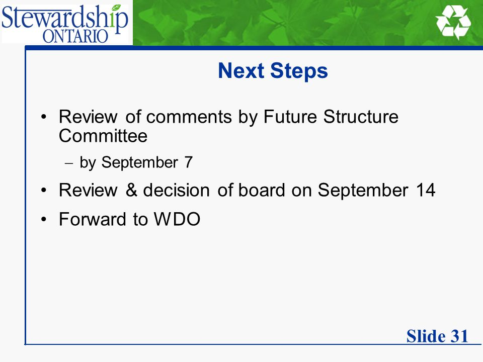 Next Steps Review of comments by Future Structure Committee  by September 7 Review & decision of board on September 14 Forward to WDO Slide 31