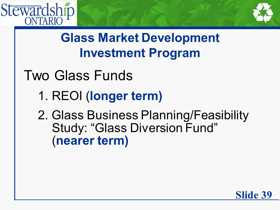 Glass Market Development Investment Program Two Glass Funds 1.REOI (longer term) 2.