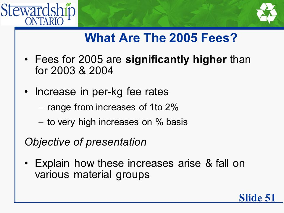 What Are The 2005 Fees? Fees for 2005 are significantly higher than for 2003 & 2004 Increase in per-kg fee rates  range from increases of 1to 2%  to