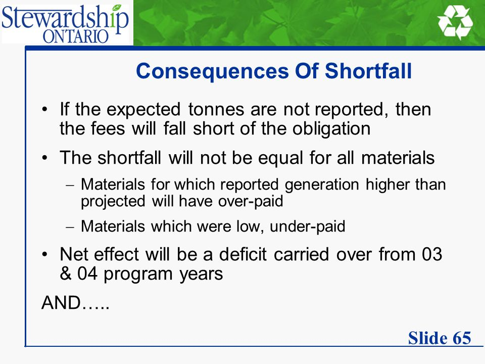 Consequences Of Shortfall If the expected tonnes are not reported, then the fees will fall short of the obligation The shortfall will not be equal for all materials  Materials for which reported generation higher than projected will have over-paid  Materials which were low, under-paid Net effect will be a deficit carried over from 03 & 04 program years AND…..