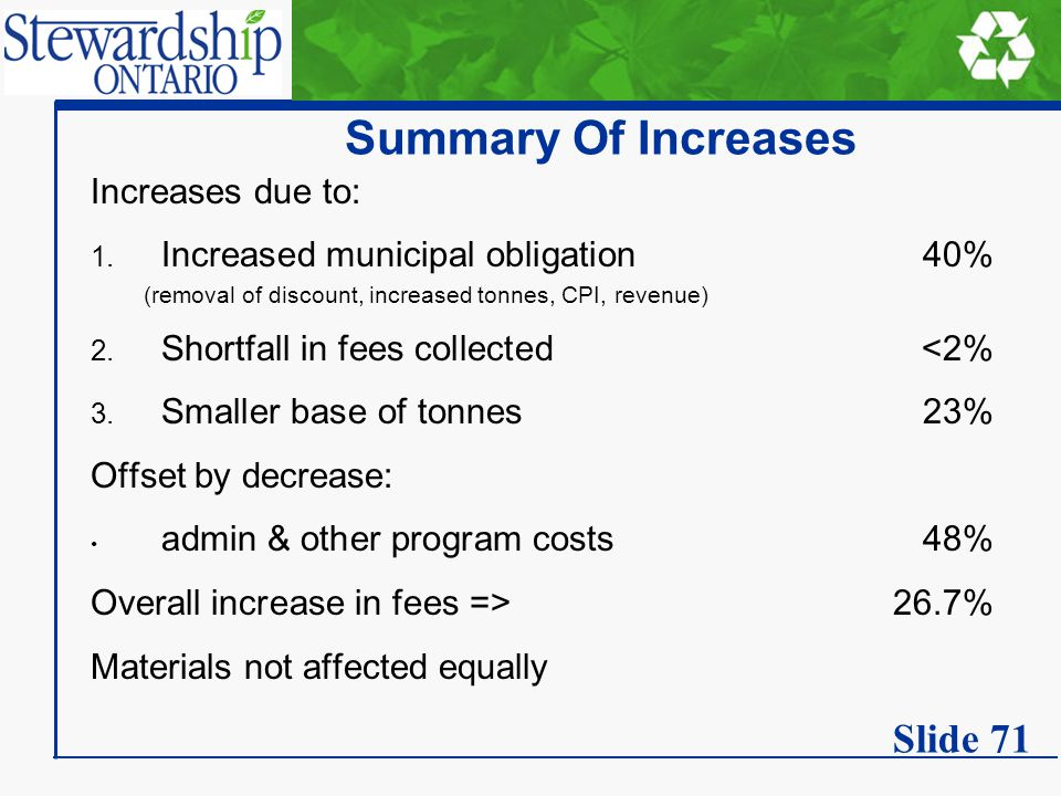 Summary Of Increases Increases due to: 1. Increased municipal obligation40% (removal of discount, increased tonnes, CPI, revenue) 2. Shortfall in fees