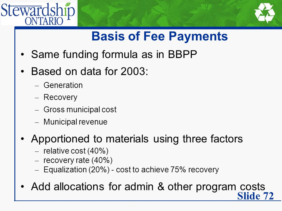 Basis of Fee Payments Same funding formula as in BBPP Based on data for 2003:  Generation  Recovery  Gross municipal cost  Municipal revenue Appor