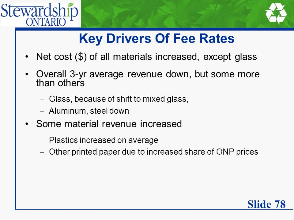 Key Drivers Of Fee Rates Net cost ($) of all materials increased, except glass Overall 3-yr average revenue down, but some more than others  Glass, because of shift to mixed glass,  Aluminum, steel down Some material revenue increased  Plastics increased on average  Other printed paper due to increased share of ONP prices Slide 78