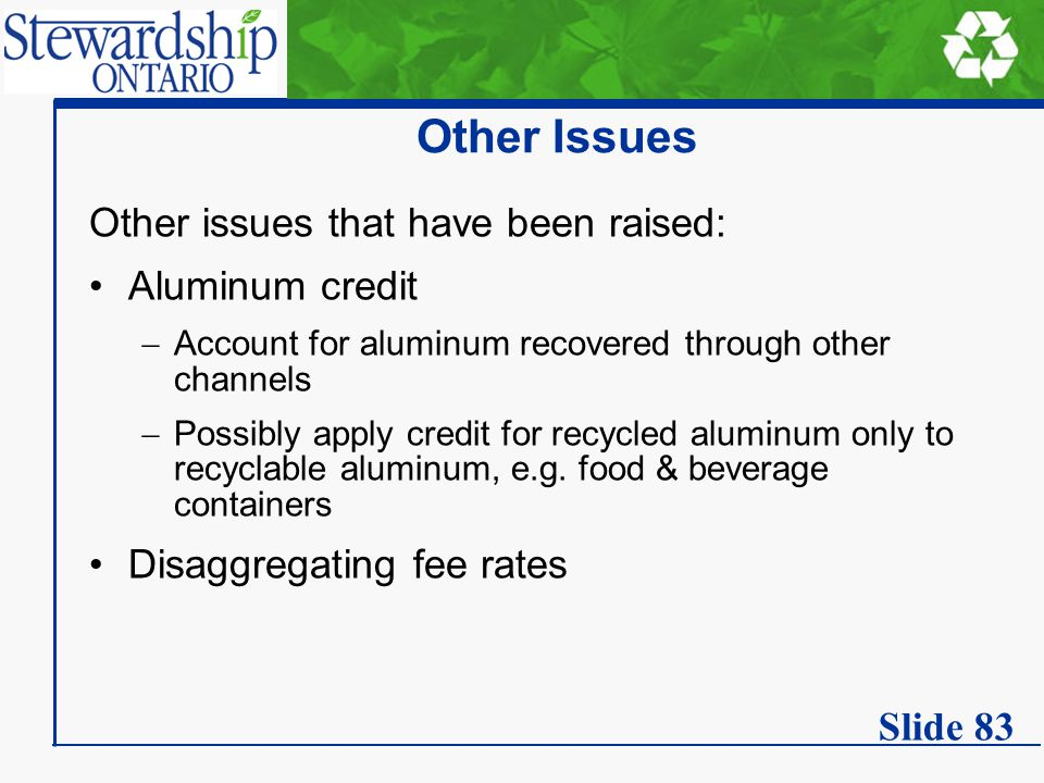 Other Issues Other issues that have been raised: Aluminum credit  Account for aluminum recovered through other channels  Possibly apply credit for recycled aluminum only to recyclable aluminum, e.g.