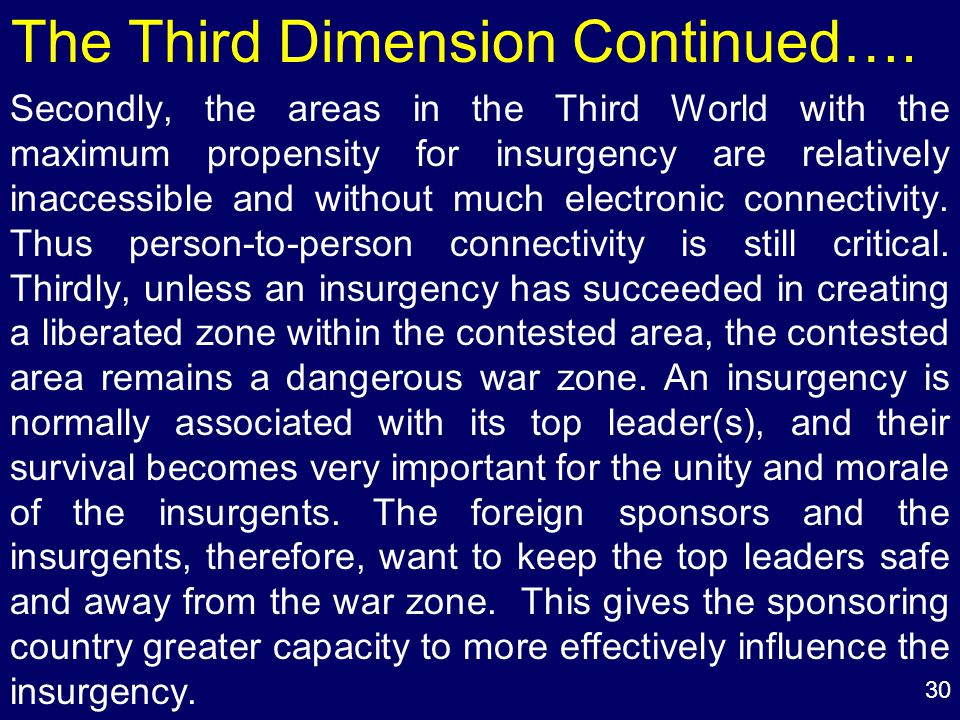 30 The Third Dimension Continued….