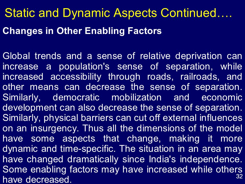 32 Static and Dynamic Aspects Continued….