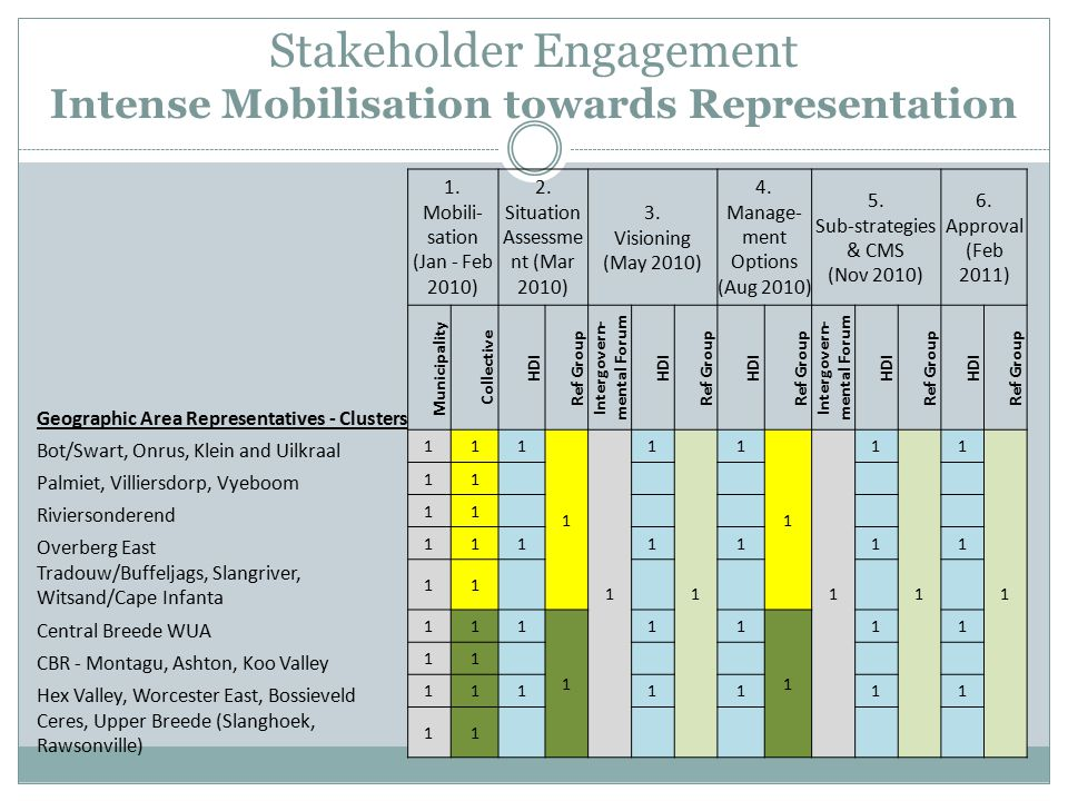 Stakeholder Engagement Intense Mobilisation towards Representation 1.