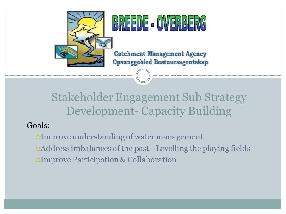 Stakeholder Engagement Sub Strategy Development- Capacity Building Goals:  Improve understanding of water management  Address imbalances of the past - Levelling the playing fields  Improve Participation & Collaboration