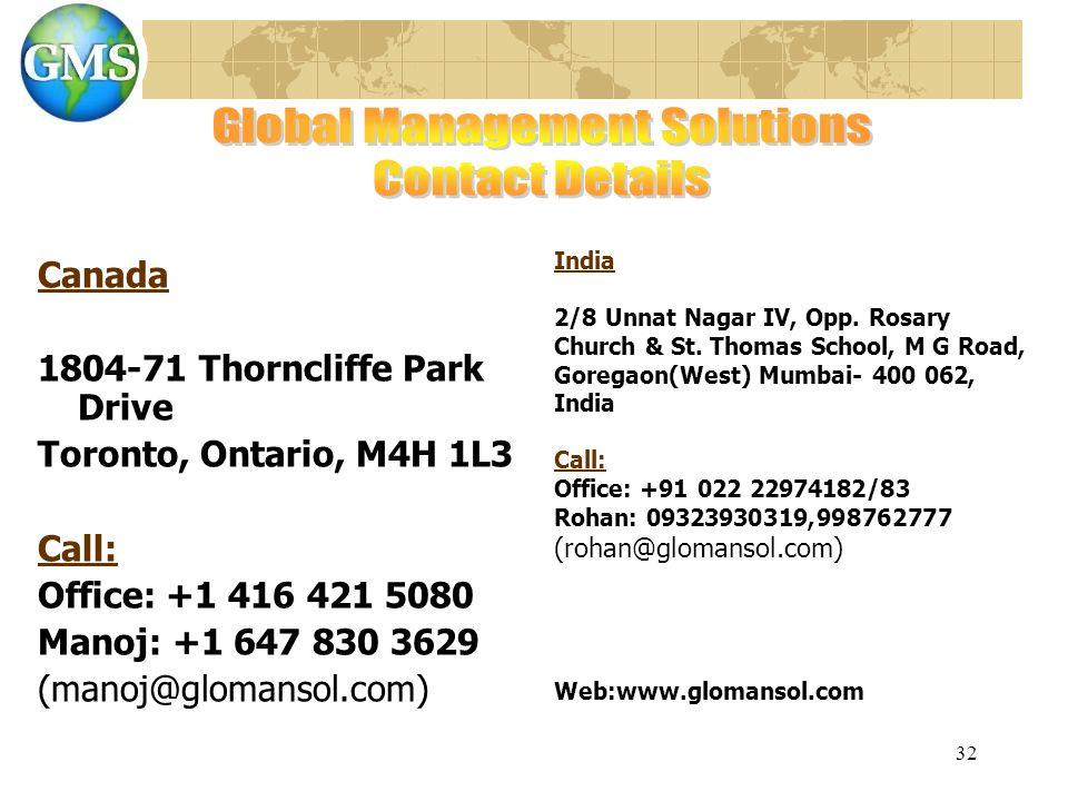 32 Canada 1804-71 Thorncliffe Park Drive Toronto, Ontario, M4H 1L3 Call: Office: +1 416 421 5080 Manoj: +1 647 830 3629 (manoj@glomansol.com) India 2/8 Unnat Nagar IV, Opp.