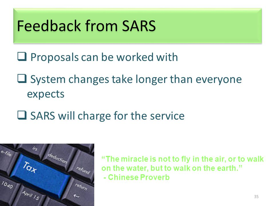 35 Feedback from SARS  Proposals can be worked with  System changes take longer than everyone expects  SARS will charge for the service The miracle is not to fly in the air, or to walk on the water, but to walk on the earth. - Chinese Proverb