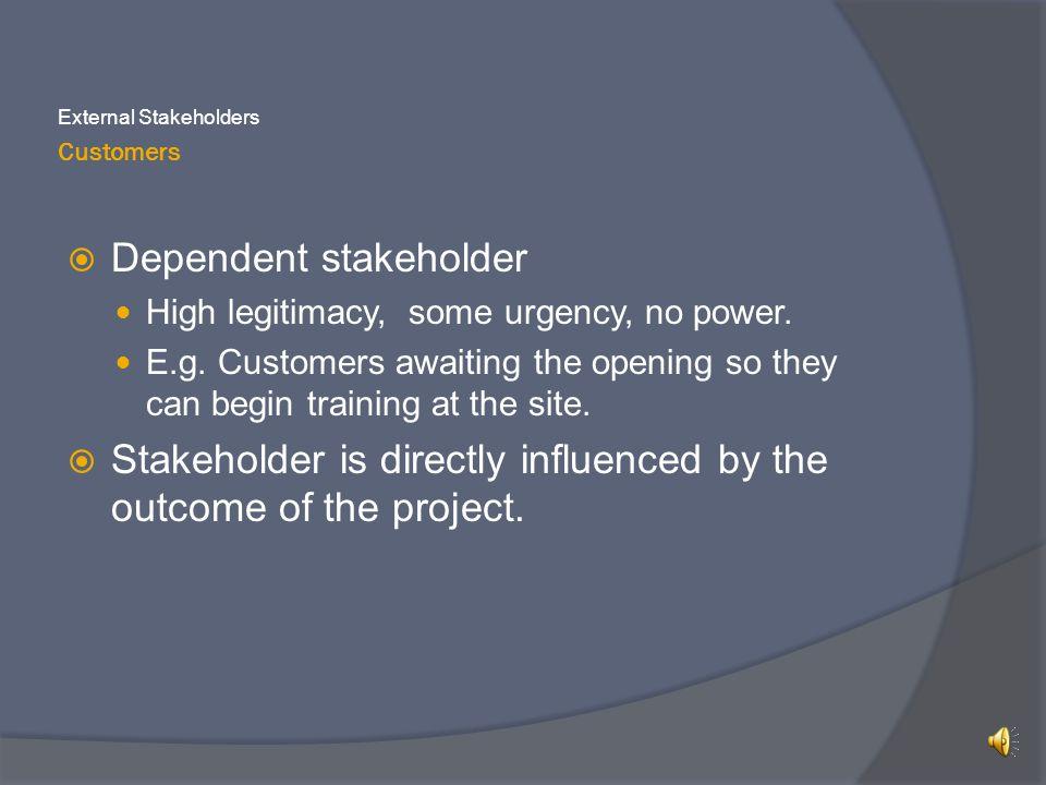 Customers External Stakeholders  Dependent stakeholder High legitimacy, some urgency, no power.