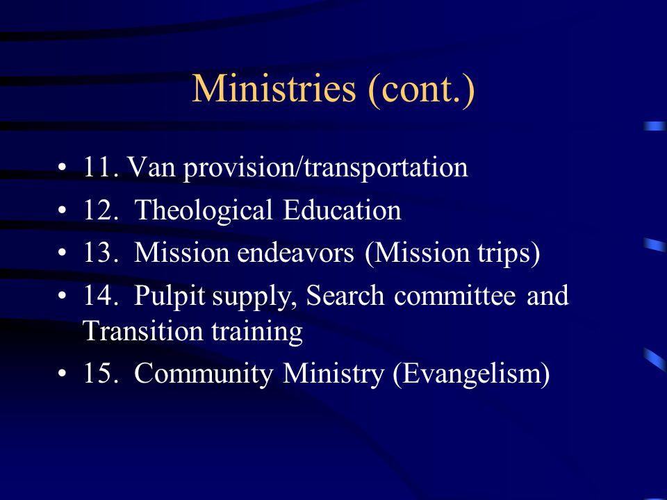 Ministries (cont.) 11. Van provision/transportation 12.