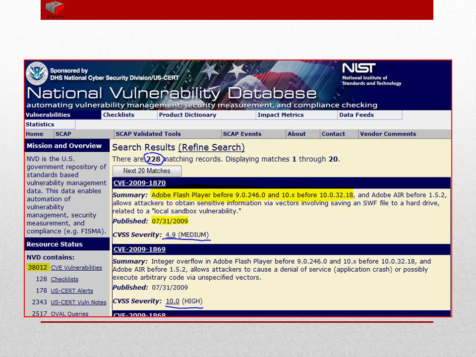 National Vulnerability Database In the near future, information warfare will control the form and future of war... Our sights must not be fixed on the