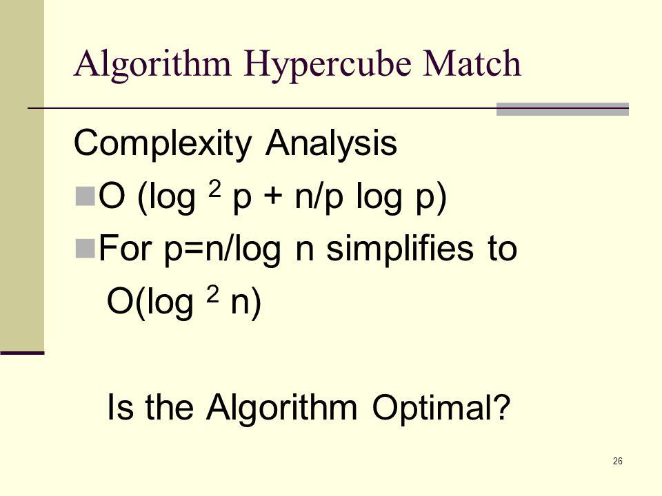 26 Algorithm Hypercube Match Complexity Analysis O (log 2 p + n/p log p) For p=n/log n simplifies to O(log 2 n) Is the Algorithm Optimal?