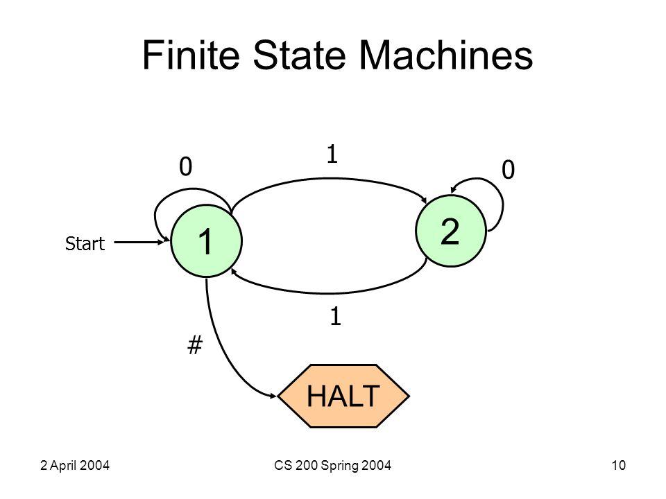 2 April 2004CS 200 Spring 200410 Finite State Machines 1 Start 2 HALT 1 0 1 # 0