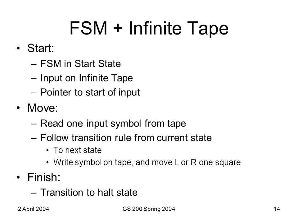 2 April 2004CS 200 Spring 200414 FSM + Infinite Tape Start: –FSM in Start State –Input on Infinite Tape –Pointer to start of input Move: –Read one input symbol from tape –Follow transition rule from current state To next state Write symbol on tape, and move L or R one square Finish: –Transition to halt state