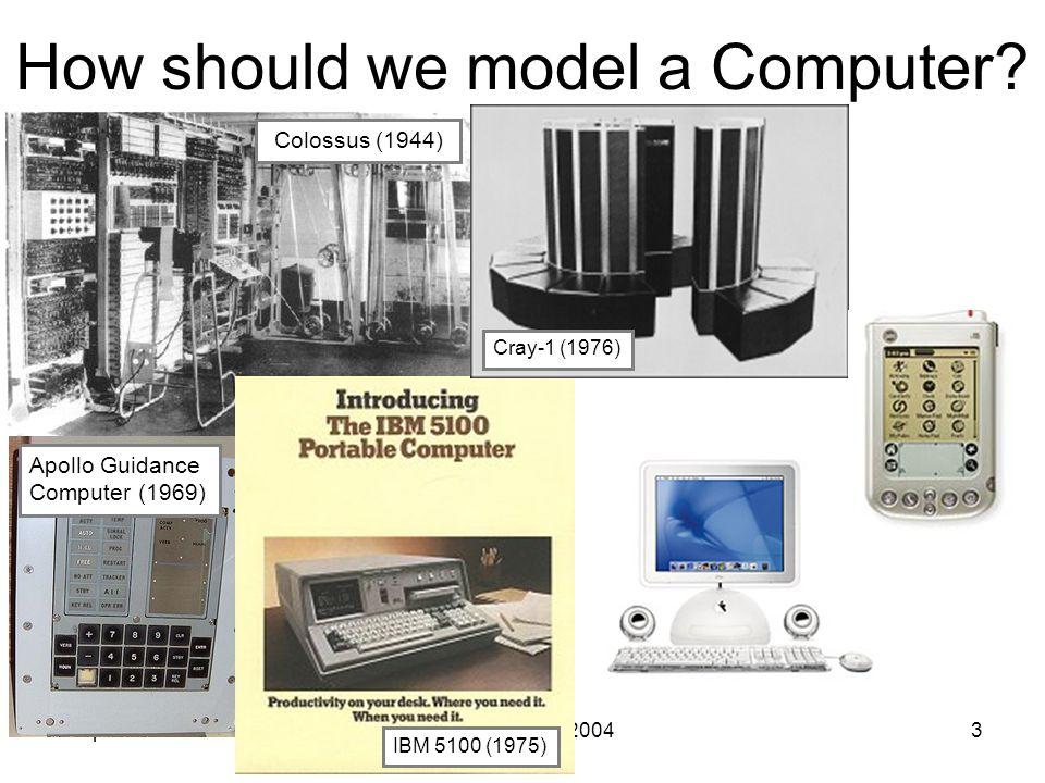 2 April 2004CS 200 Spring 20043 How should we model a Computer.