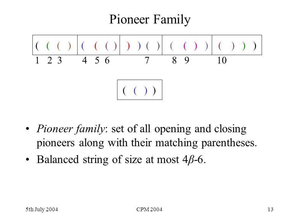 5th July 2004CPM 200413 Pioneer Family Pioneer family: set of all opening and closing pioneers along with their matching parentheses. Balanced string