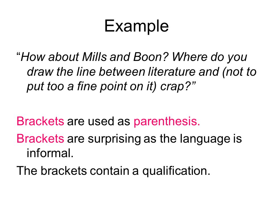 Example How about Mills and Boon.