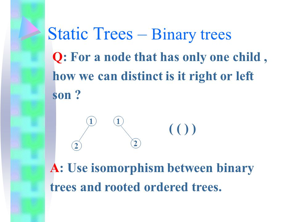 Isomorphism example 1 2 7 106 5 8 9 3496 8 7 1 0 5 3 24 Binary Tree Equivalent Rooted Ordered Tree