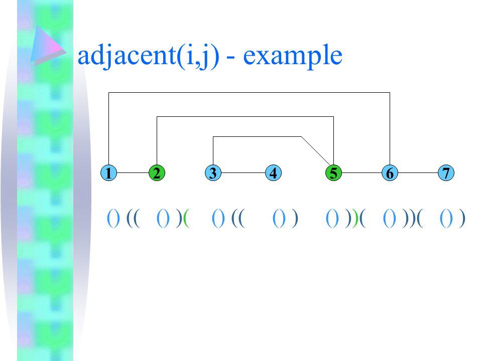 adjacent(i,j) - example 1234567 () (( () )( () (( () ) () ))( () ))( () )