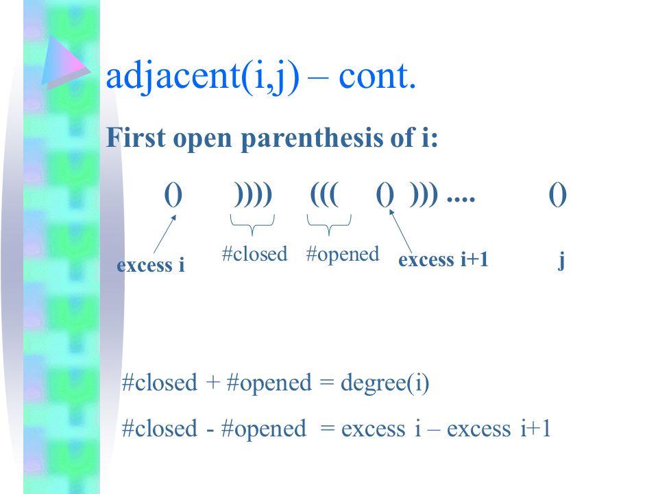 adjacent(i,j) – cont. () )))) ((( () )))....