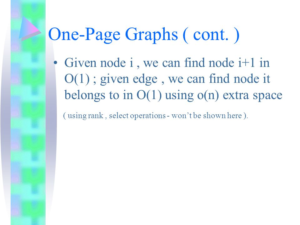 One-Page Graphs ( cont.) degree(i) – difference indices between nodes i and i+1.