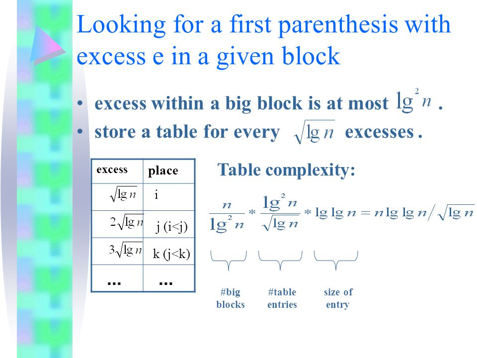 Looking for a first parenthesis with excess e in a given block ( cont.) for two consecutive entries in table: if ( j – i > lg n / 2 ) keep all entries number such portions Space requirement: